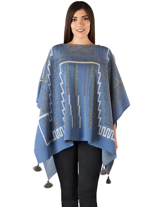 Lineas Baby Alpaca Wool Tassel Poncho Blue on model - Main