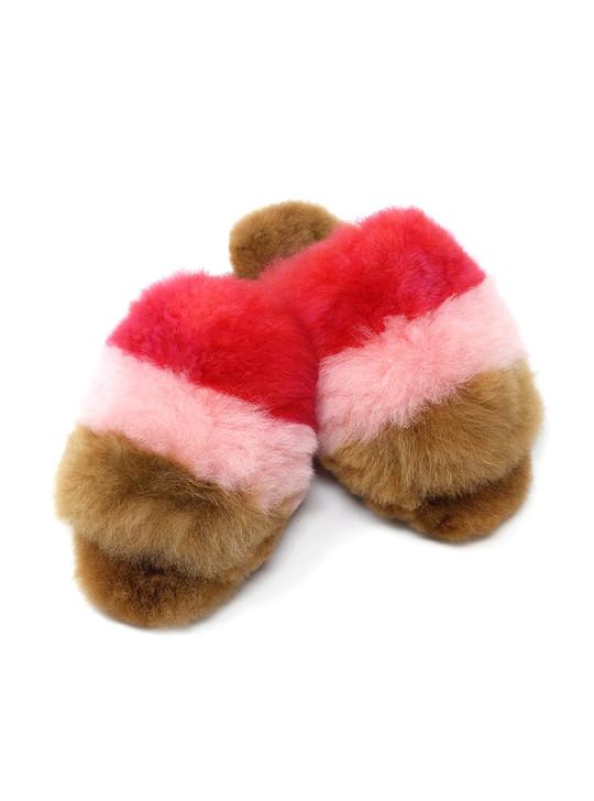 Multi Color Striped Open Toe Alpaca Slippers Main