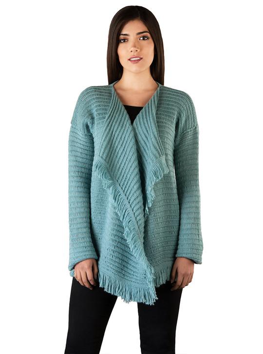 Fringe Benefits Cardigan Baby Alpaca Wool Women's Sweater on Model