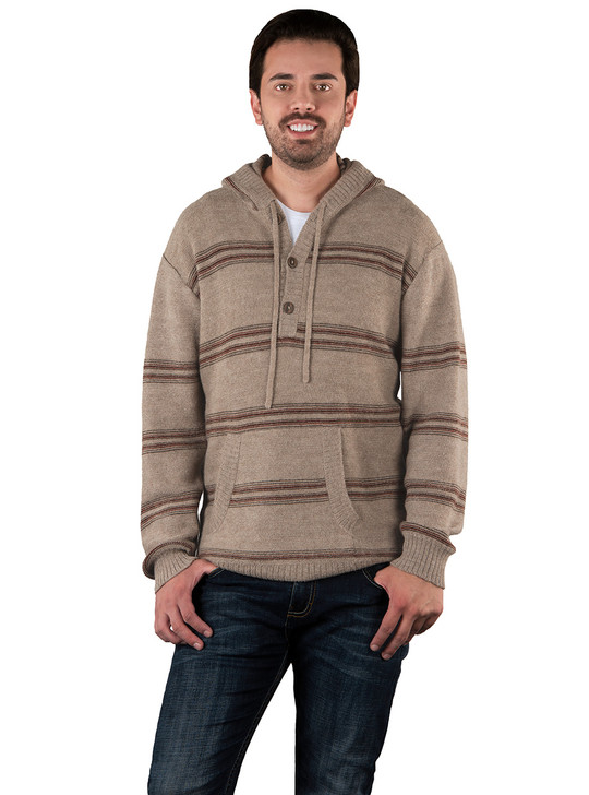 Baja Alpaca Striped Hoodie on Model Front