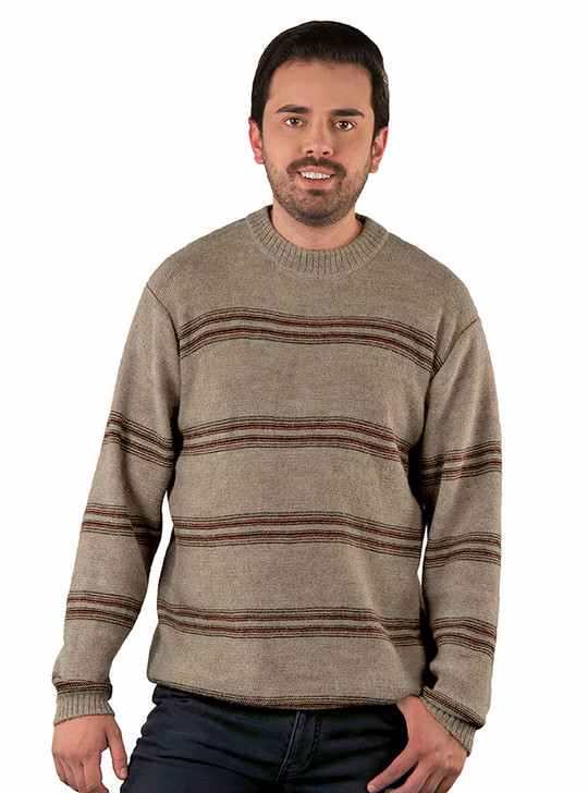Baja Men's Striped Crew Neck Alpaca Knit Pullover on Model Main