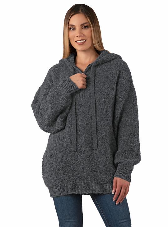 Halo Alpaca Hoodie Quarter Zip Pullover  Sweater Front on Model