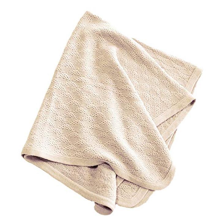 Baby Blanket - Lap Throw  in 100% Alpaca Wool Quatrefoil Pattern