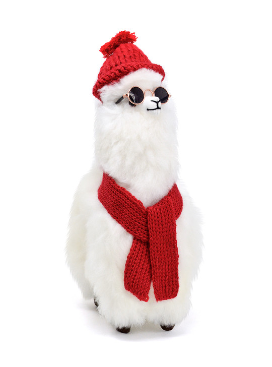 Alpaca Toy Figure with Fashion Accessories by Inca Fashions White Alpaca Figure with Red Alpaca Hat & Scarf
