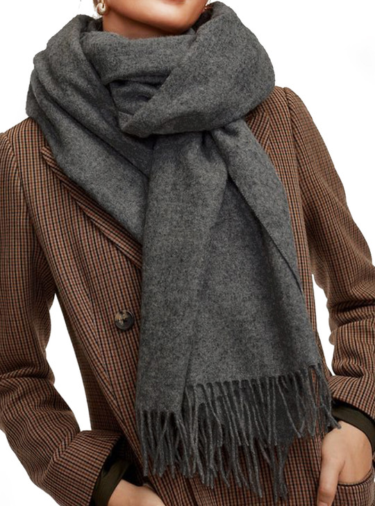 Baby Alpaca Wool Oversized Long Blankets Scarf & Shawl with Fringe Headspace Charcoal Gray / Model