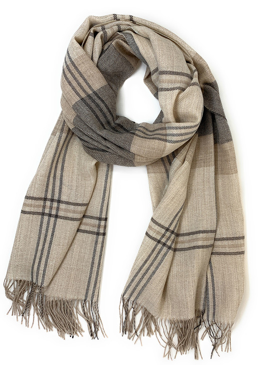 Max Plaid Organic Baby Alpaca Scarf and Wrap / Oversized Looped