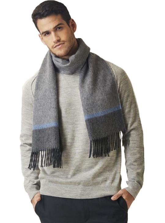 Men's Fallon Herringbone Stripe Baby Alpaca Wool Scarf On Model