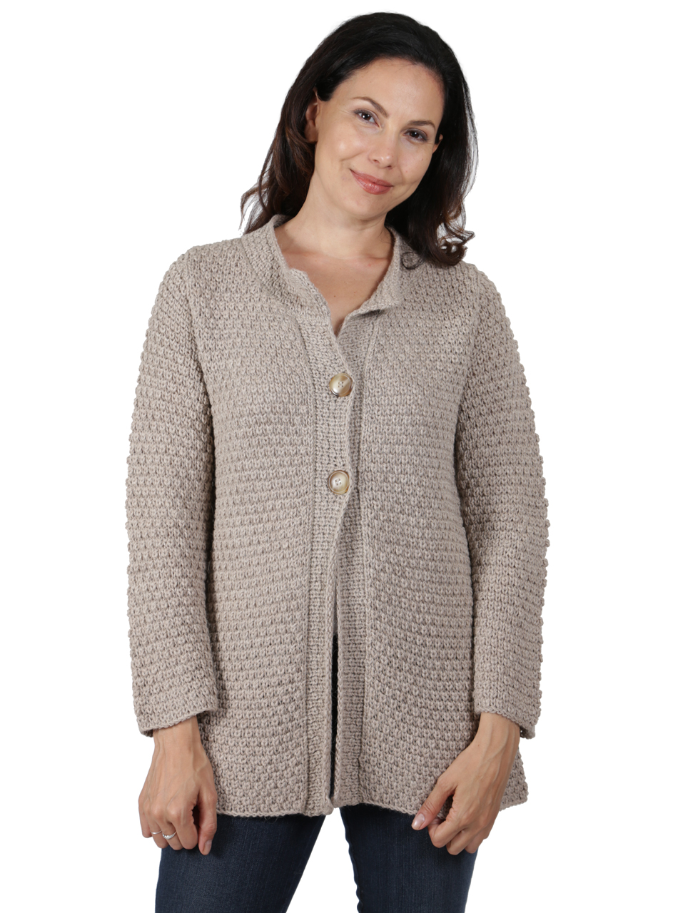 Ladies Alpaca Swing Cardigan Front
