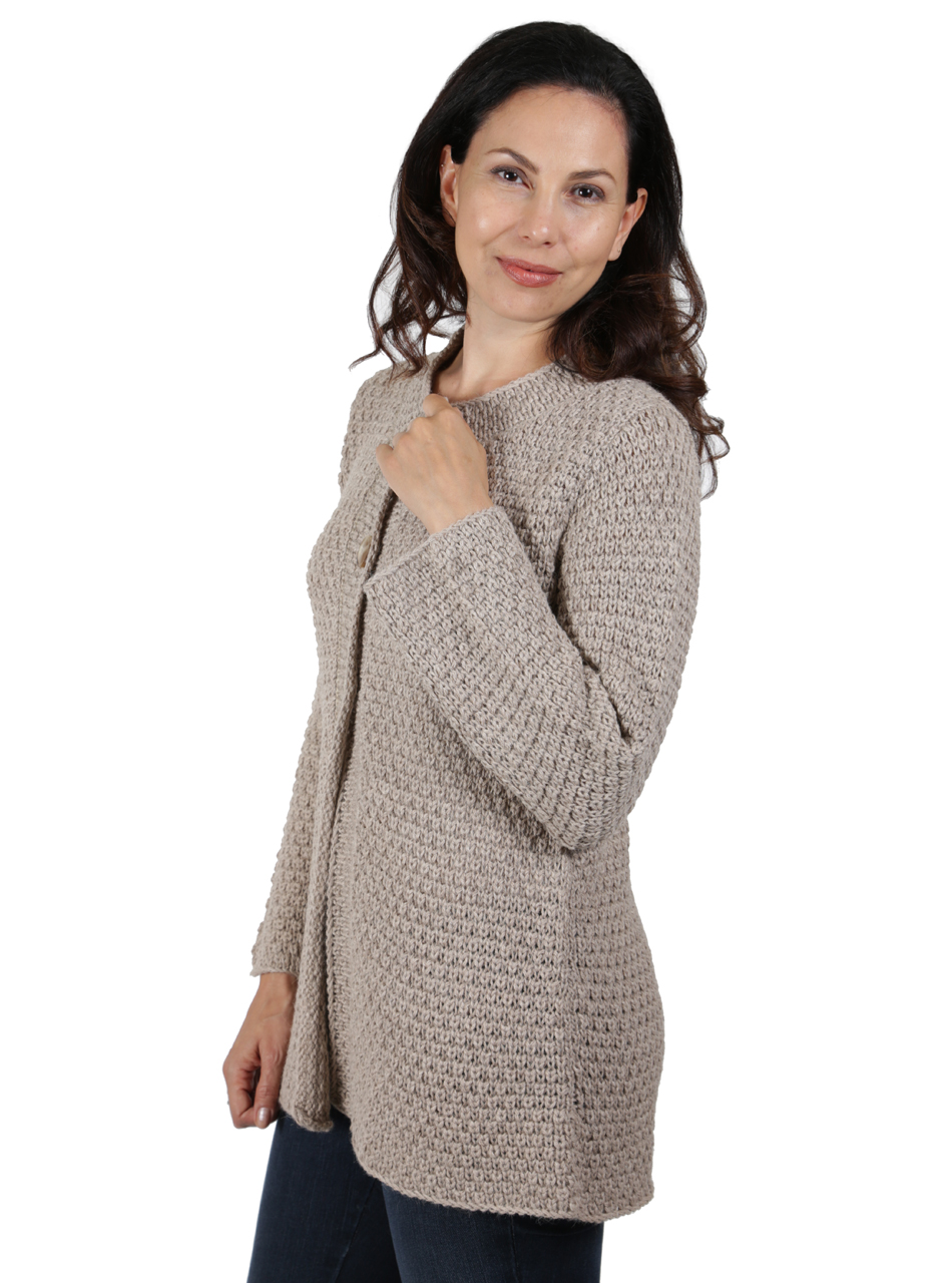 Ladies Alpaca Swing Cardigan Side
