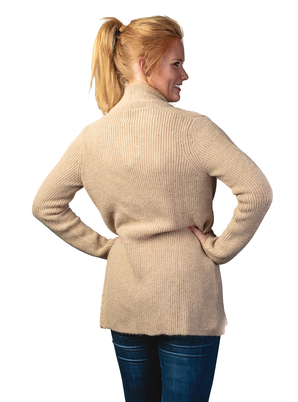 Inca Fashions Lady's Willow Baby Alpaca Cardigan Sweater Back