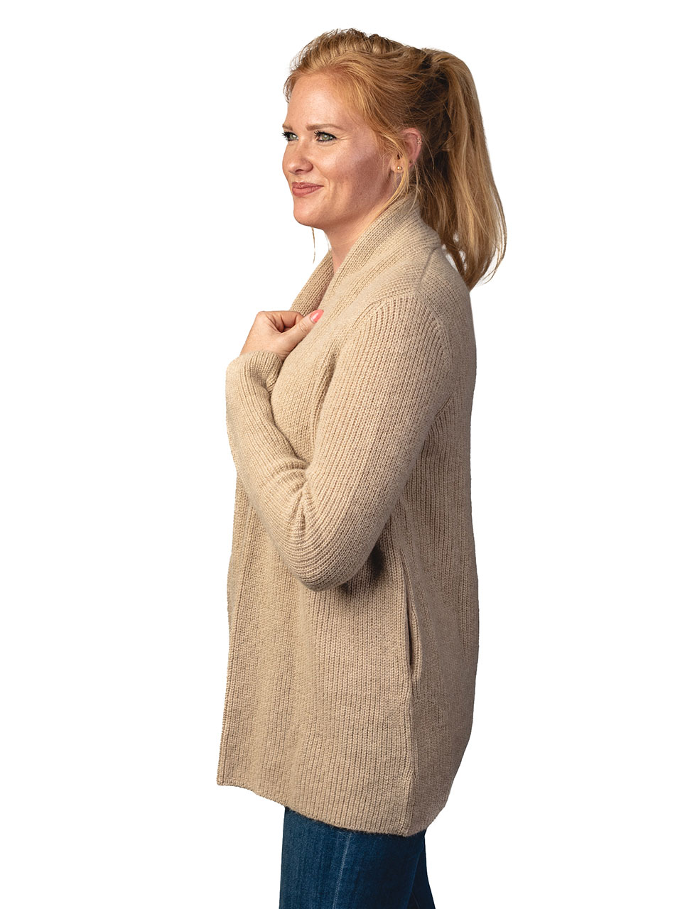 Inca Fashions Lady's Willow Baby Alpaca Cardigan Sweater Side
