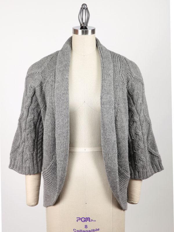 Liberty Alpaca Cardigan On Dress form - Silver - Front