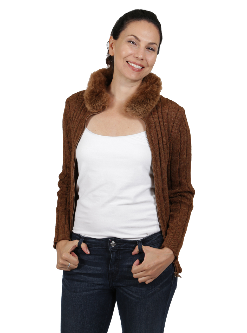 Saranac Alpaca Fur Zip Cardigan Alternate Unzipped open