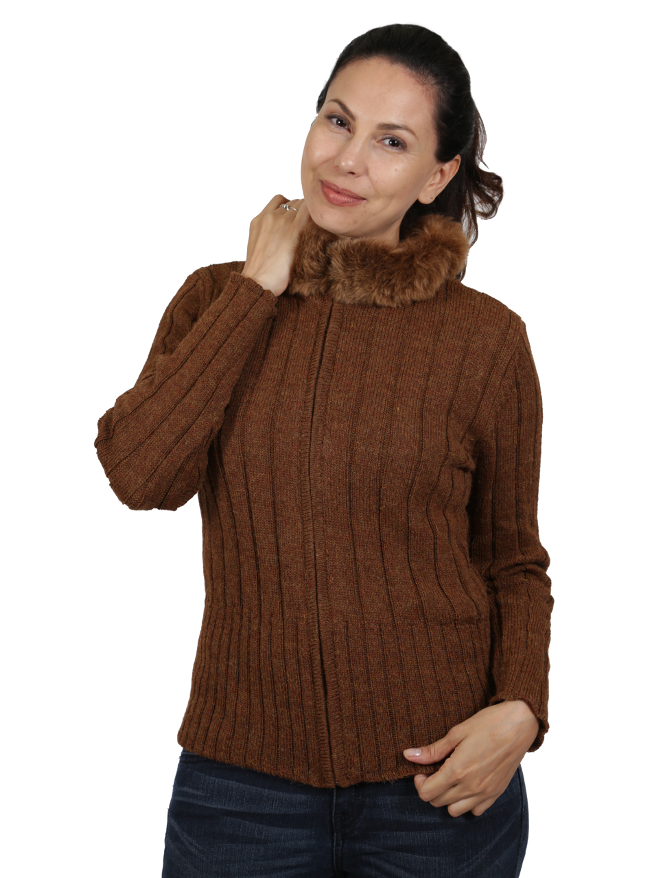 Saranac Alpaca Fur Zip Cardigan  Front Zipped