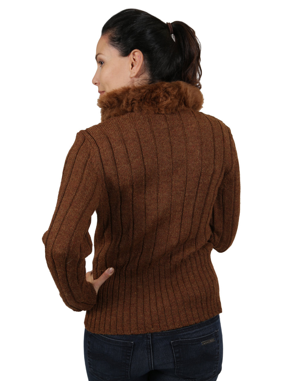Saranac Alpaca Fur Zip Cardigan Back