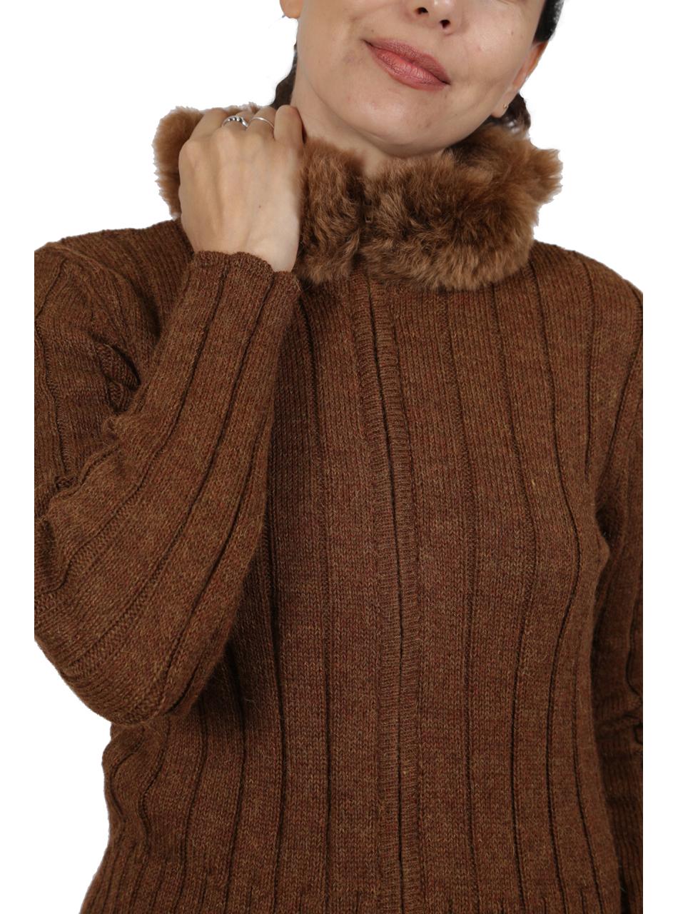 Saranac Alpaca Fur Zip Cardigan Detail of Top