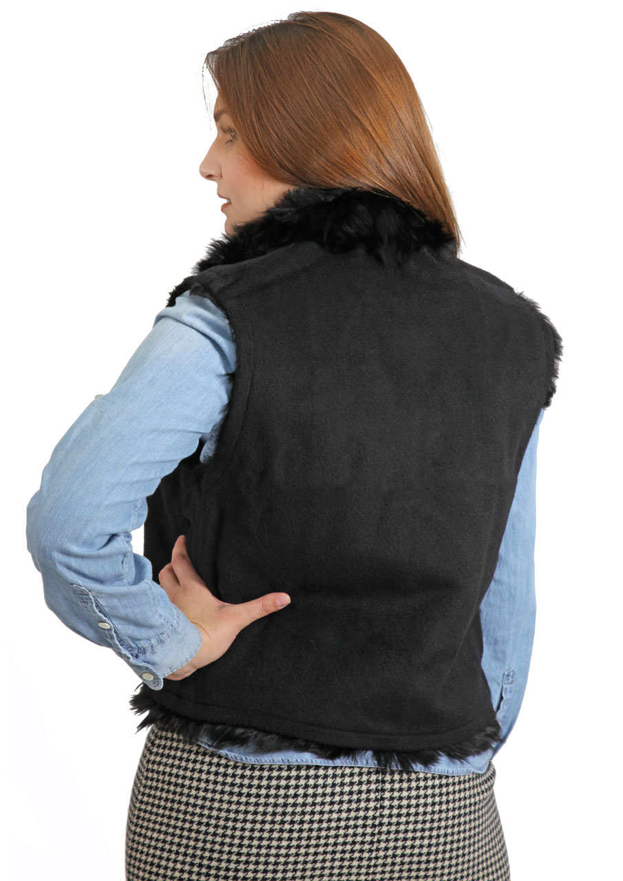 Alpaca Fur Vest  On Model - Fur Inside - Back