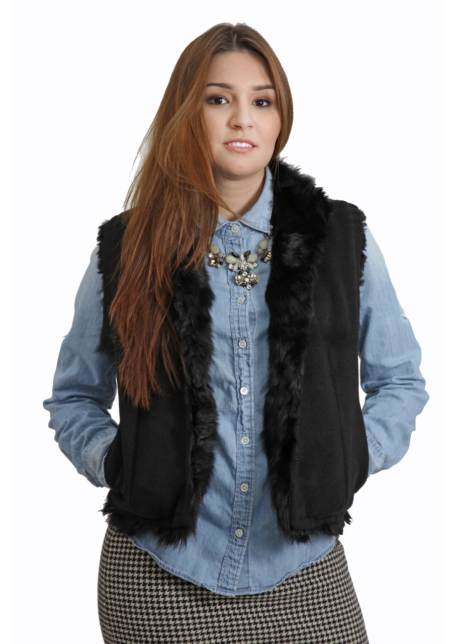Alpaca Fur Vest  On Model - Fur Inside - Front