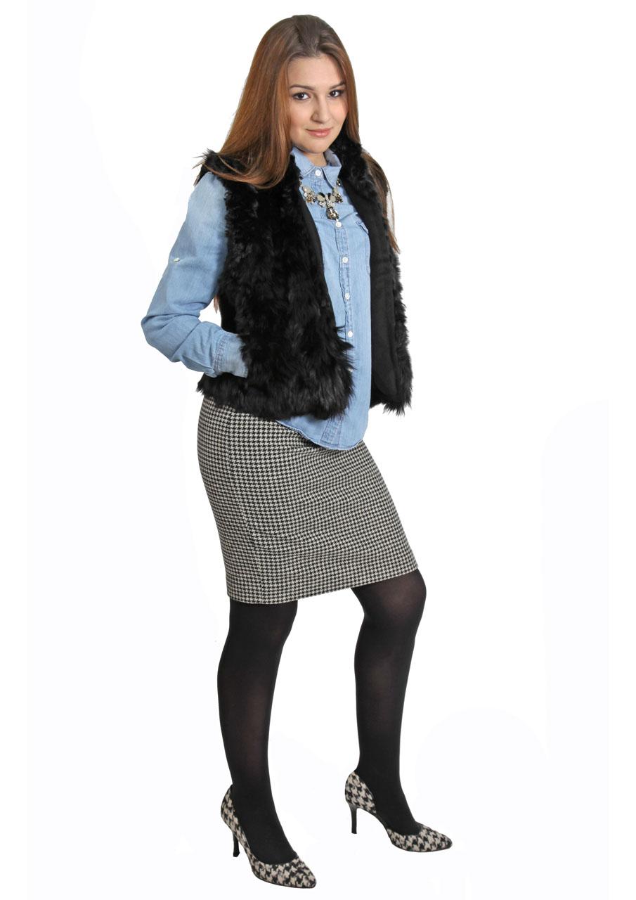 Alpaca Fur Vest  On Model - Fur Outside - Full Image