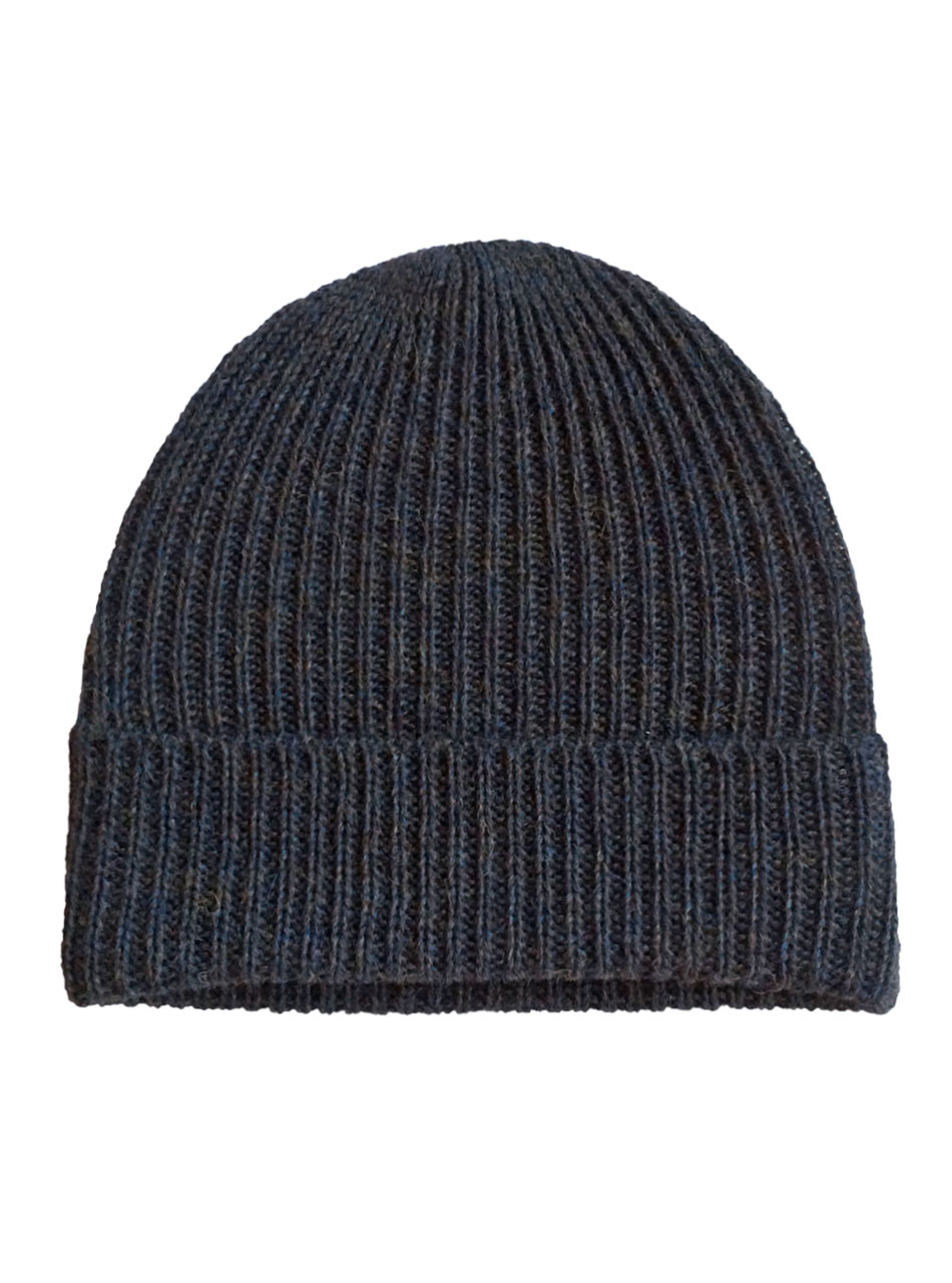 Alpaca Ribbed Beanie Blue Heather