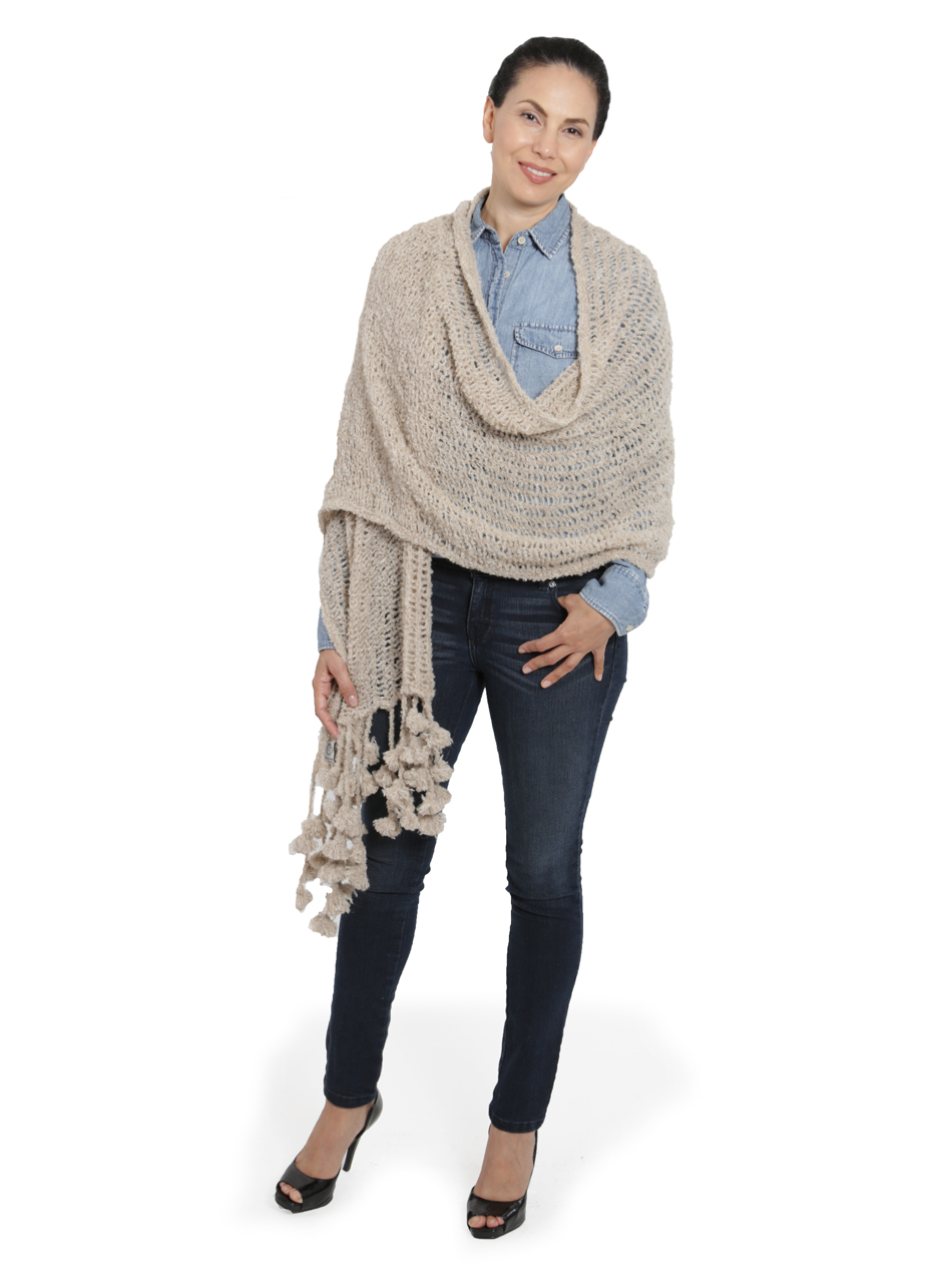 Boucle Shawl & Scarf Worn as a Shawl Style Front