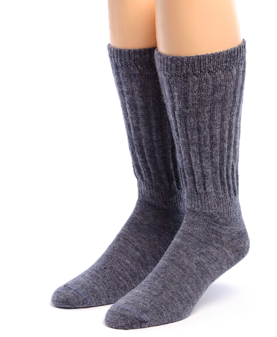 Therapeutic Alpaca Socks Front Denim