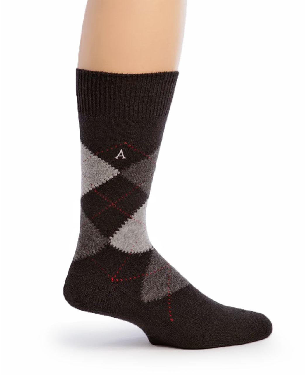 Baby Alpaca Argyle Socks Side Black Argyle
