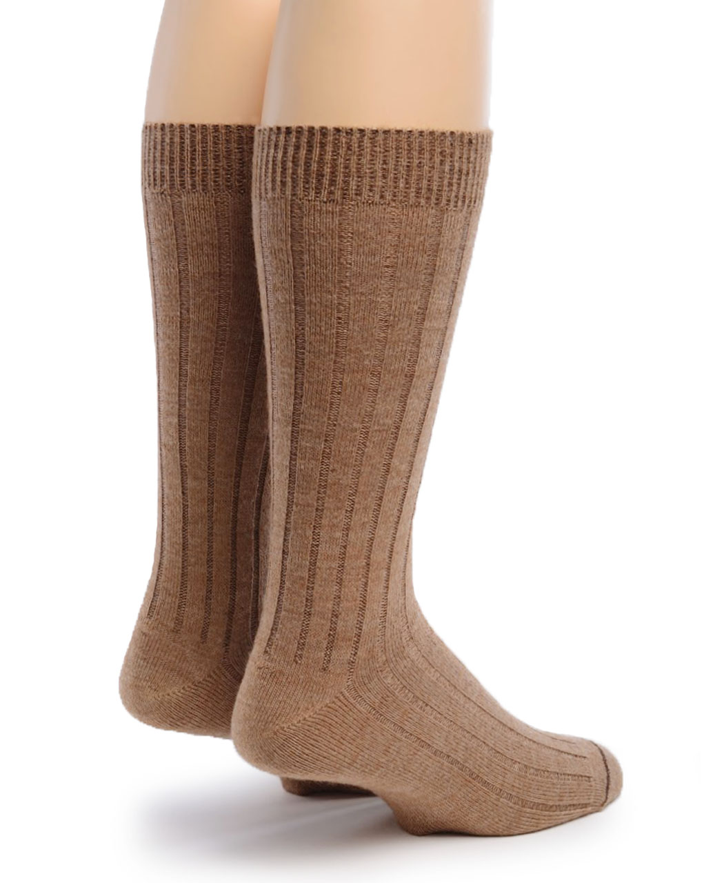 Men's Alpaca Ribbed Dress Socks  Back Fawn/Camel