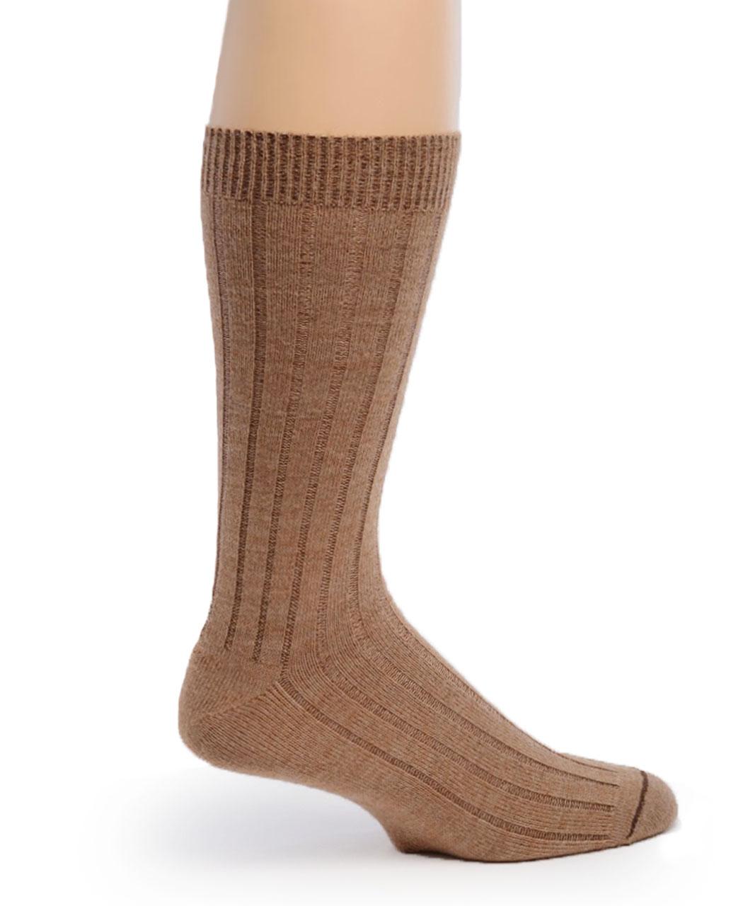 Men's Alpaca Ribbed Dress Socks  Side Fawn/Camel