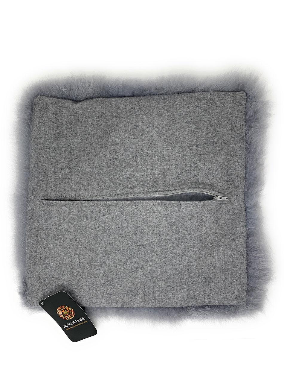 Alpaca Fur Pillow Cover  Back with zipper open