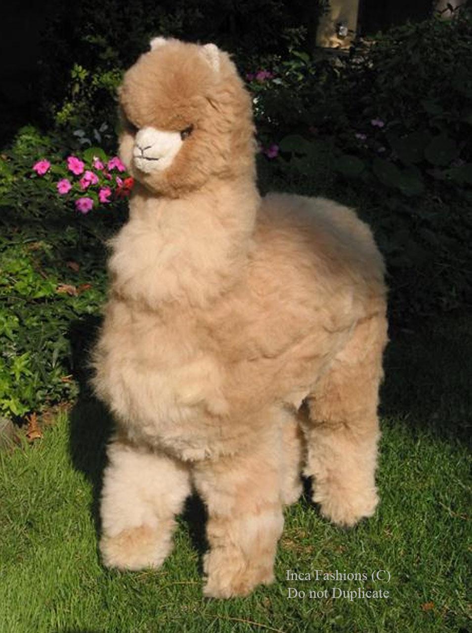"Life-Size Alpaca Stuffed Figure 36"" In garden 2"