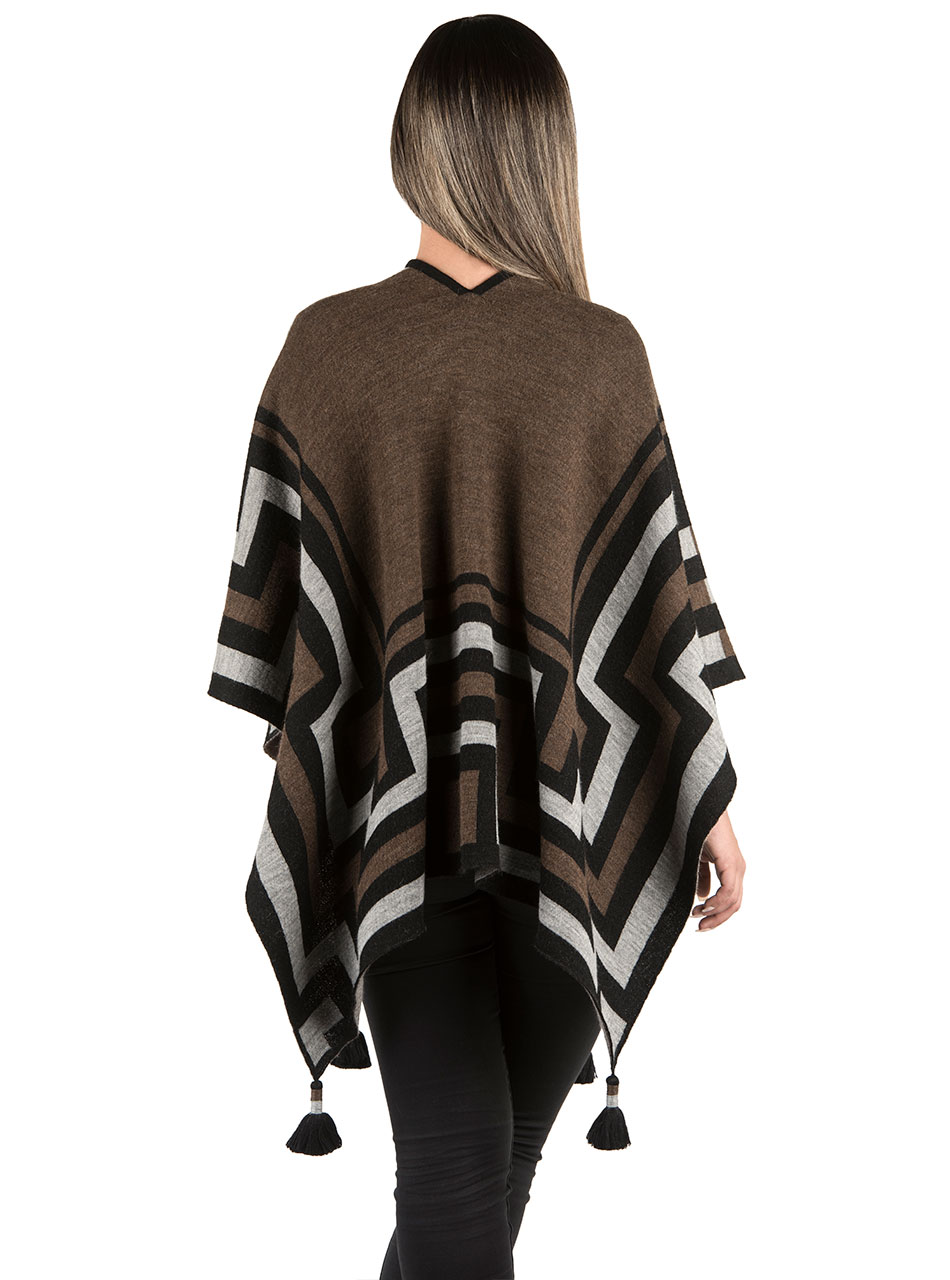 Maze Open Front Baby Alpaca Cape Style Poncho with Tassels Model Back