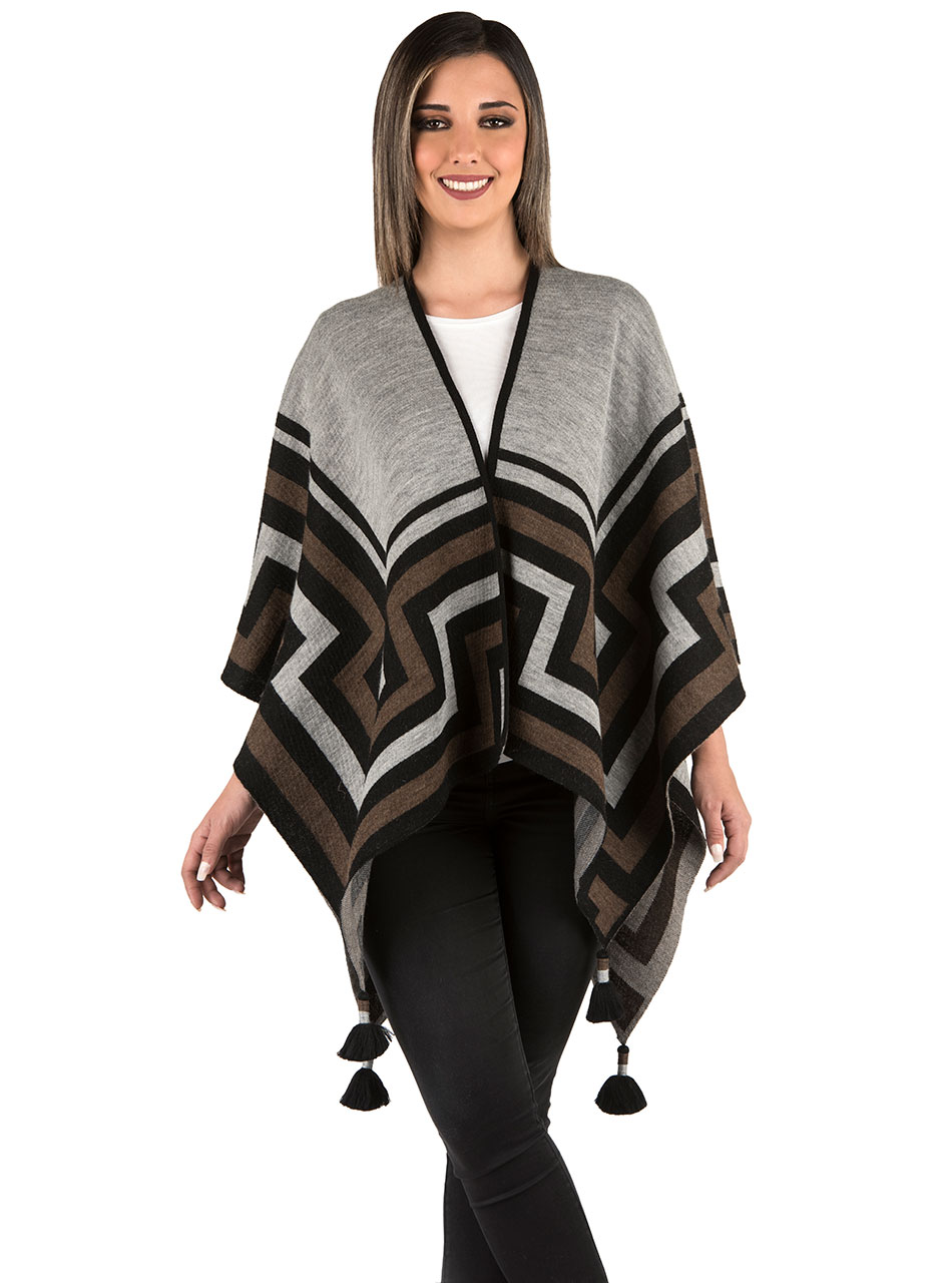 Maze Open Front Baby Alpaca Cape Style Poncho with Tassels Model Front