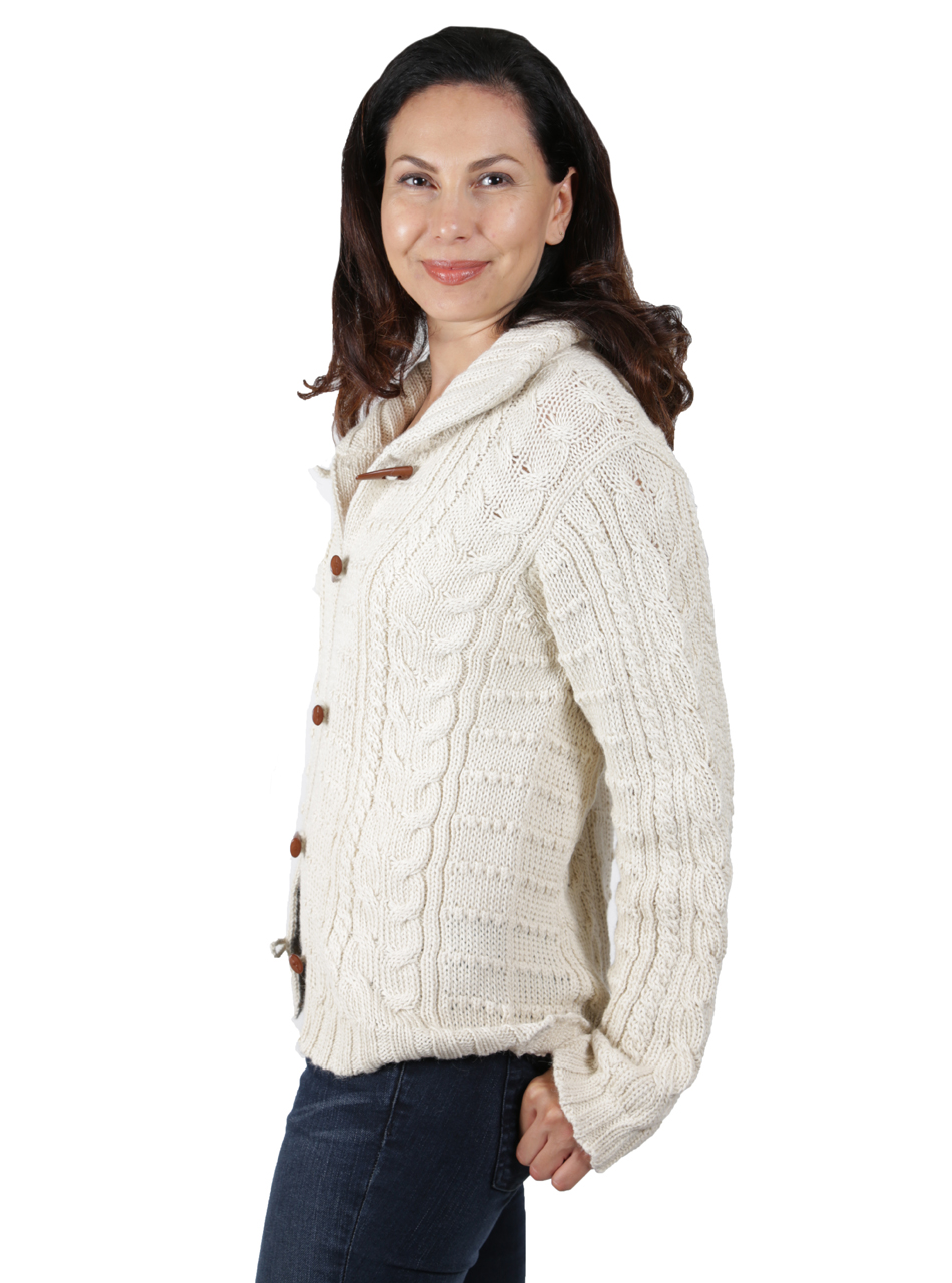 Traditional Aran Cardigan Side