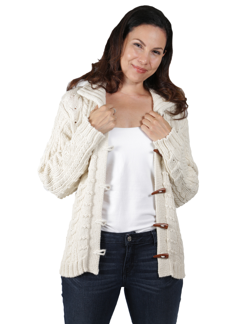 Traditional Aran Cardigan Alternate Arms up