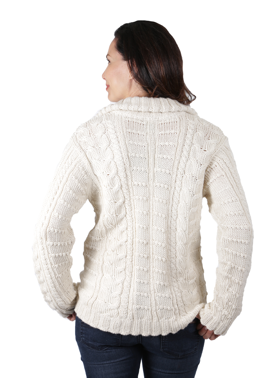 Traditional Aran Cardigan Back