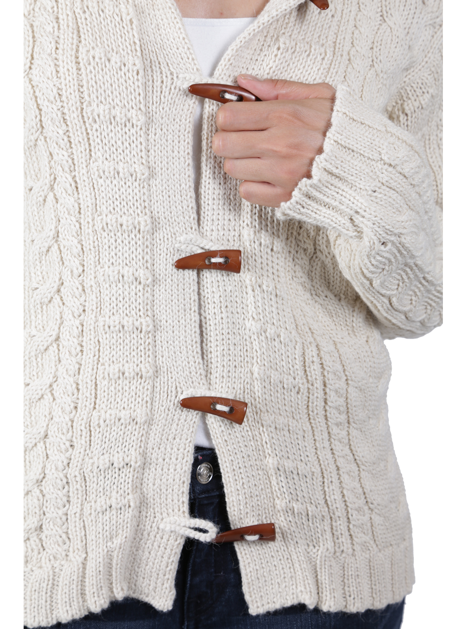Traditional Aran Cardigan Detail