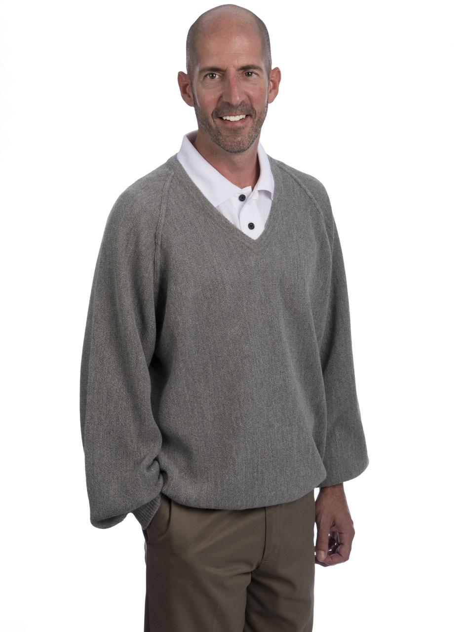 Alpaca V Neck Pullover 1960's Style - Side