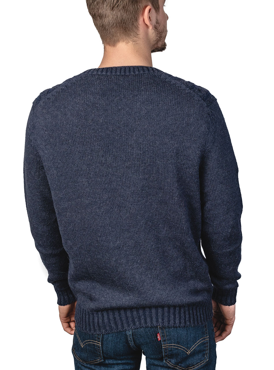 Alpaca Blend Cable Crew Neck Two-Tone Pullover Sweater Blue Carbon - Back