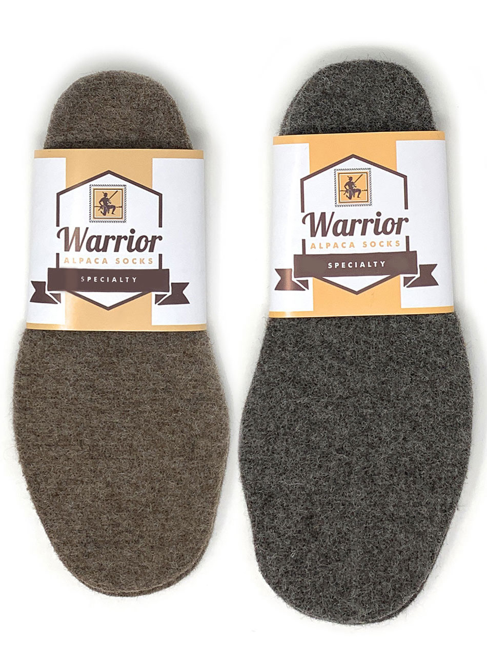 Men's & Women's 100% Alpaca Felt Insoles  Brown & Grey