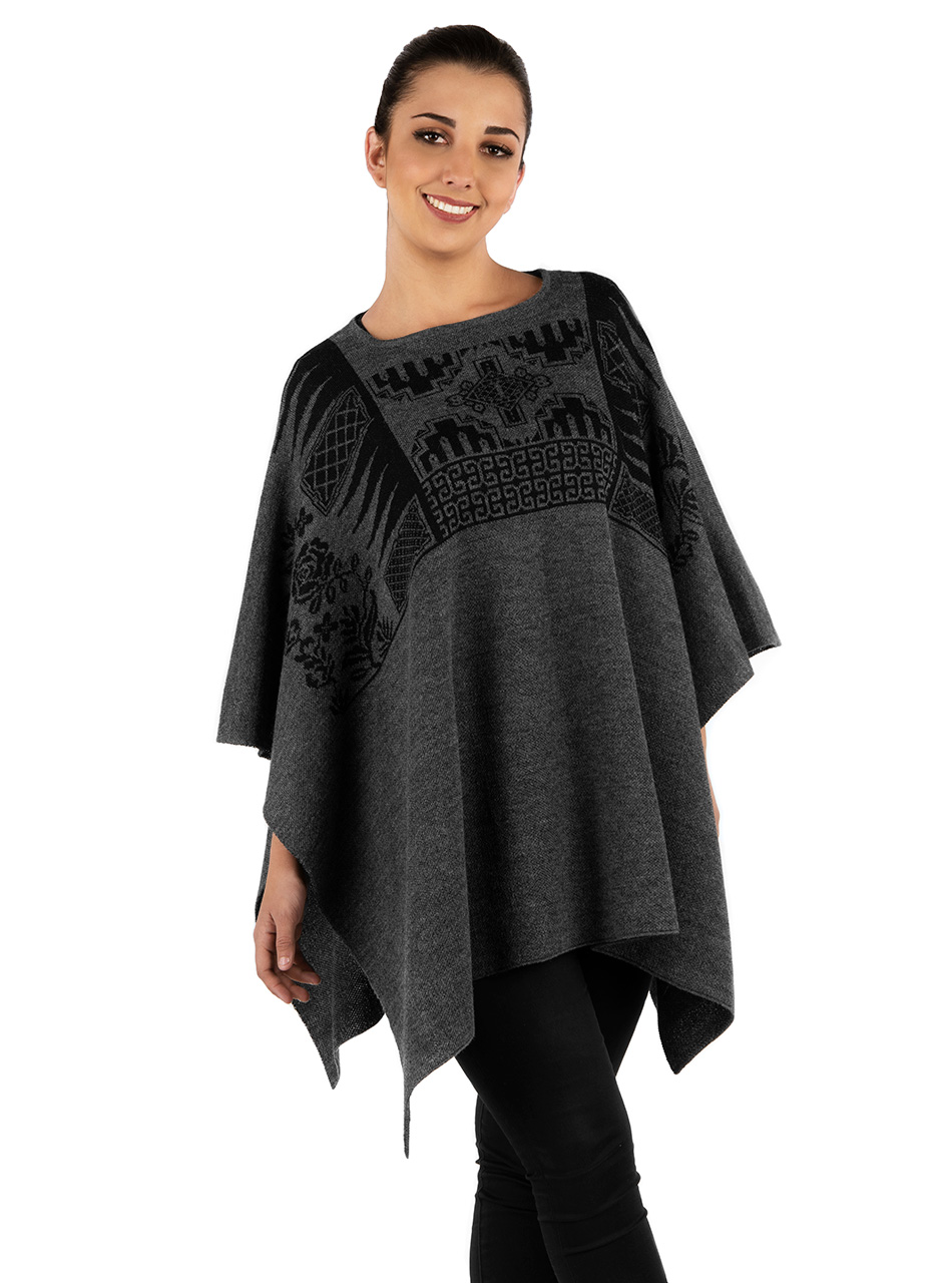 Urban Aztec Baby Alpaca Poncho - Cape Pullover Sweater  On Model - Front