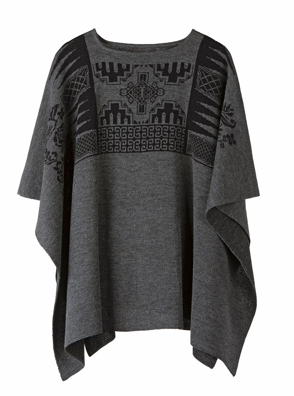 Urban Aztec Baby Alpaca Poncho - Cape Pullover Sweater  Detail