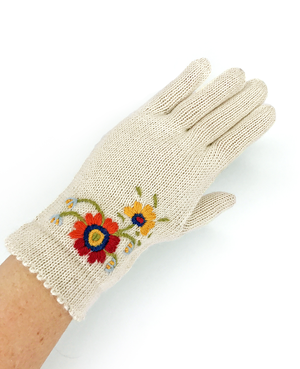 Women's Baby Alpaca Floral Gloves On Hand Cream