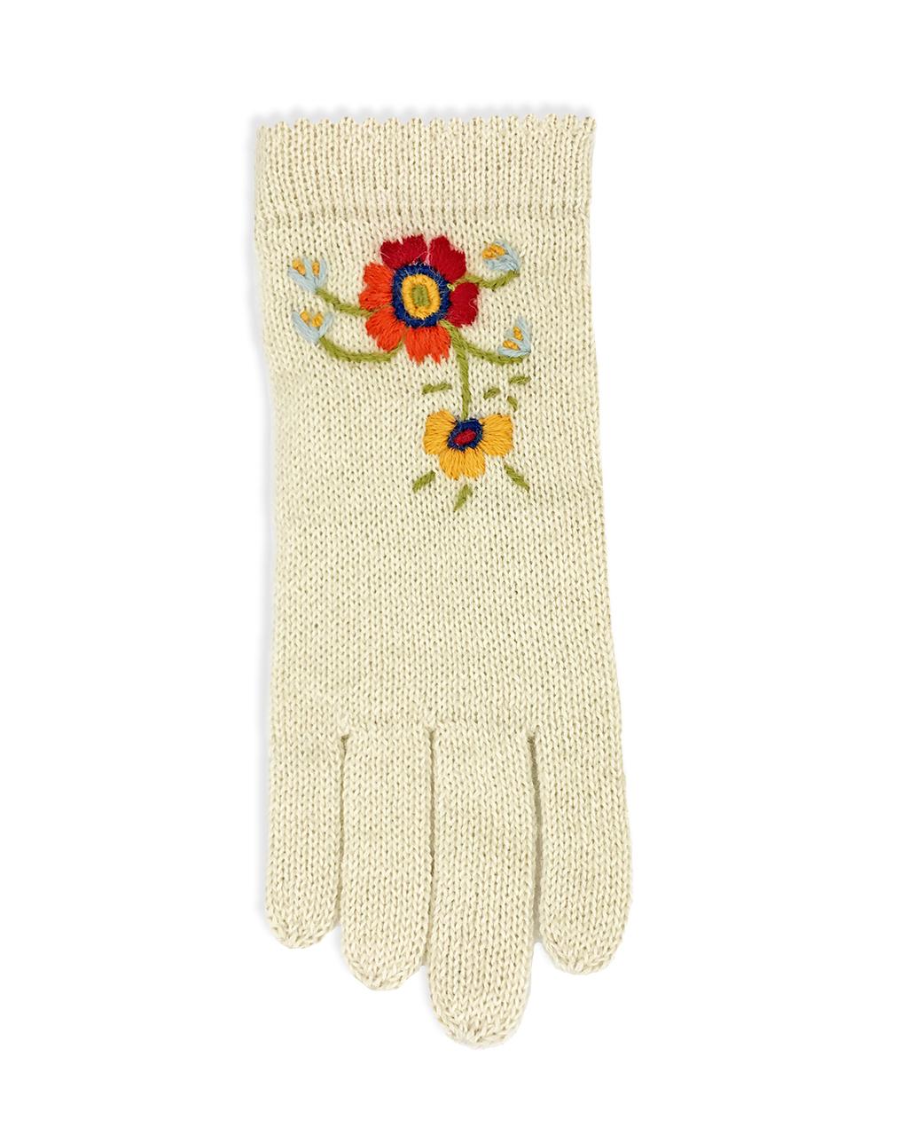 Women's Baby Alpaca Floral Gloves Flat Cream