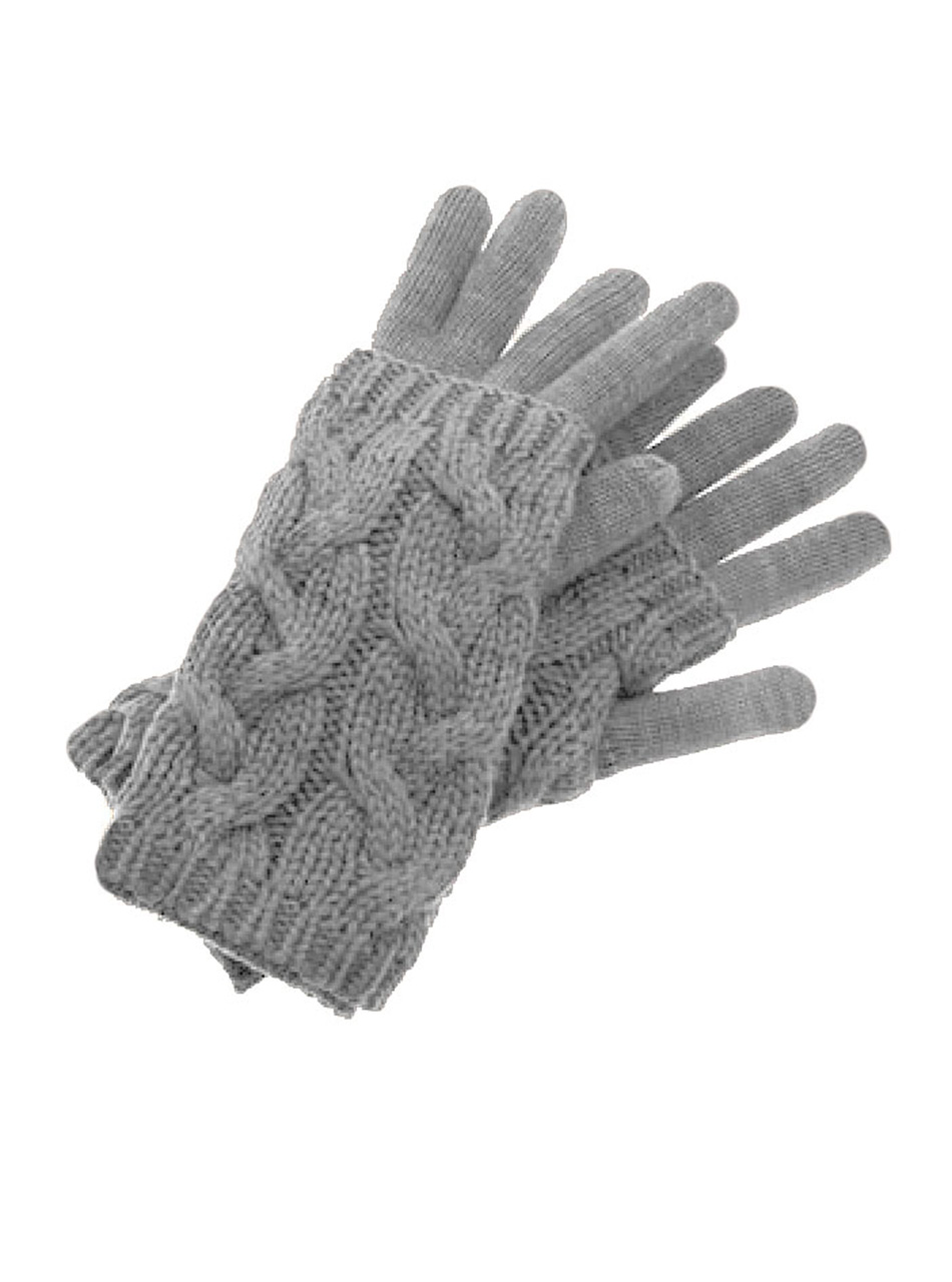 Alpaca Cable Cozy Duo Gloves and Texting Glove Felt Gray