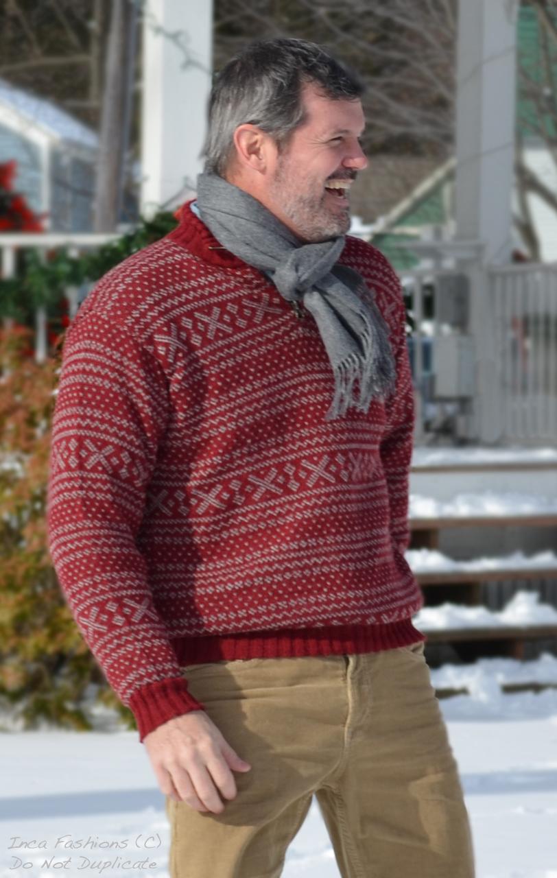 Men's Alpaca Zip Neck 1953 Pullover Sweater On model outside