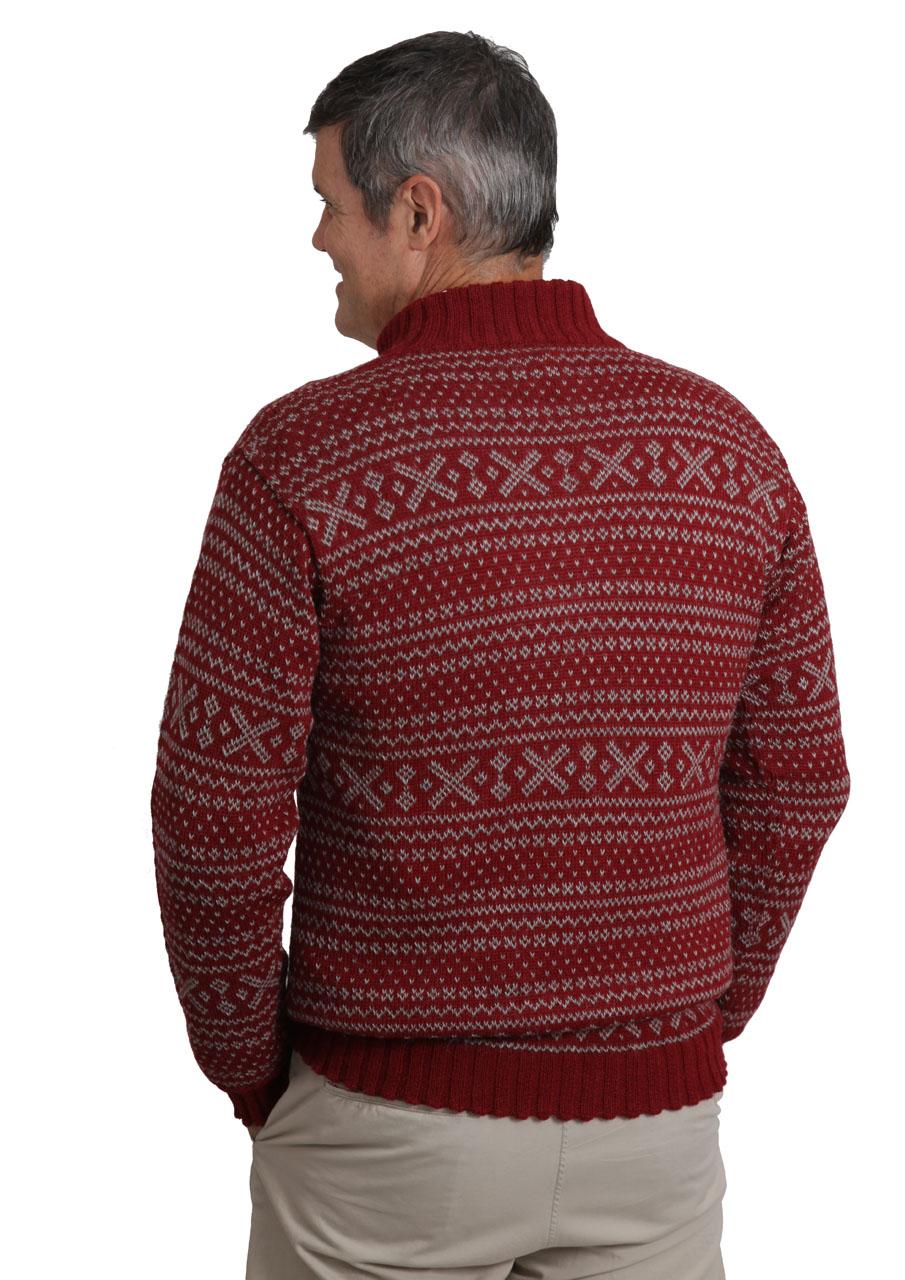 Men's Alpaca Zip Neck 1953 Pullover Sweater Antique Red - On Model - Back