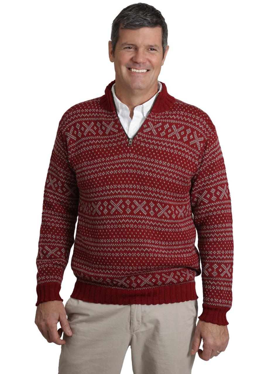 Men's Alpaca Zip Neck 1953 Pullover Sweater Antique Red - On Model - Front