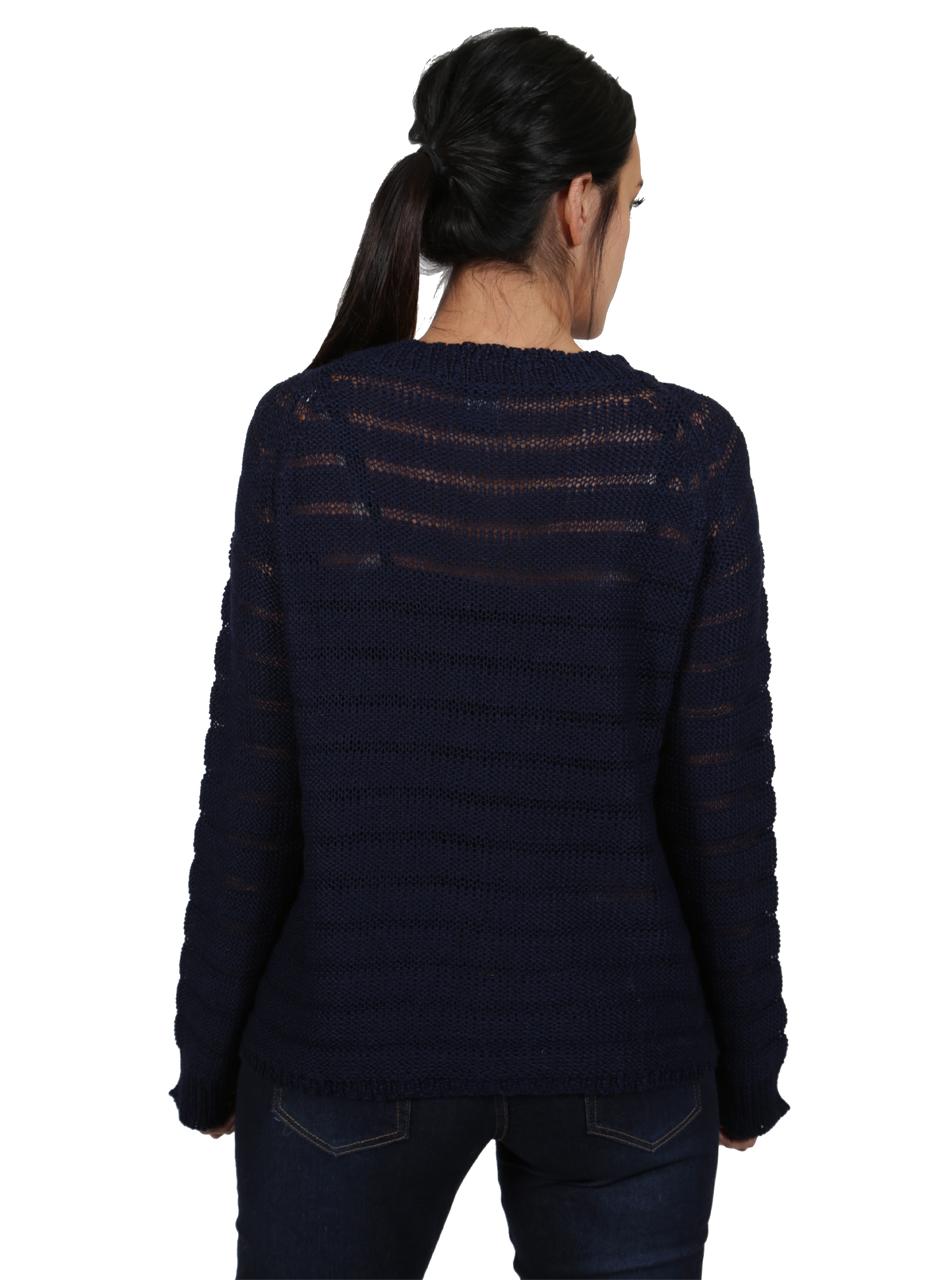Heavenly Alpaca Sweater Striped Navy Back