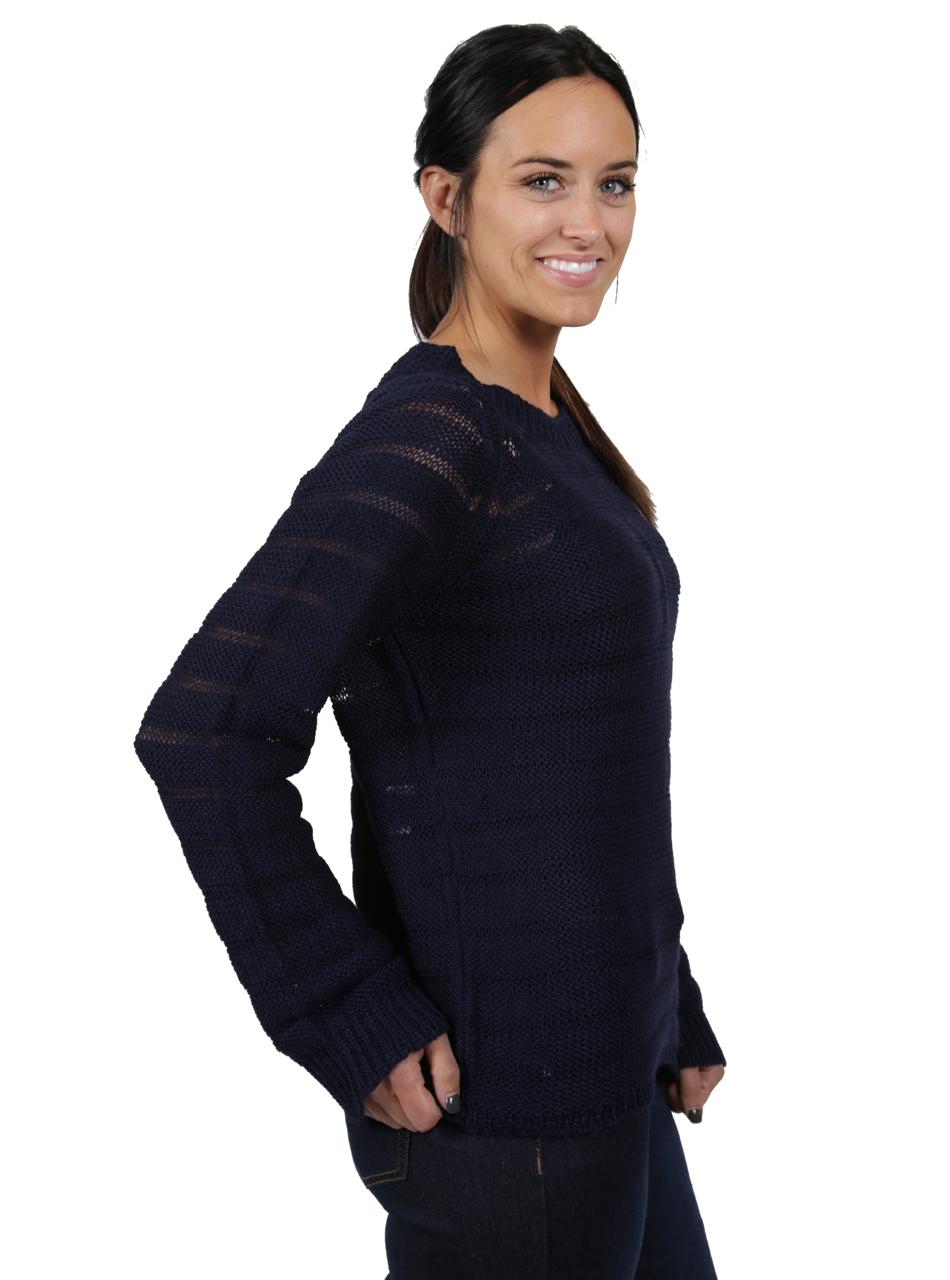 Heavenly Alpaca Sweater Striped Navy Side